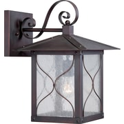 Satco Incandescent 1-Light Classic Bronze Wall Lantern with Clear Seed Glass Shade (STL-SAT656132)