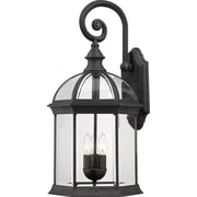 Satco Incandescent 3-Light Textured Black Wall Lantern with Clear Beveled Glass Shades (STL-SAT649691)