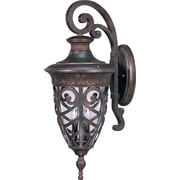 Satco Incandescent 3-Light Dark Plum Bronze Wall Lantern with Clear Seeded Glass Shades (STL-SAT620522)