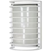 Satco CFL 1-Light Semi-Gloss White Wall Lantern with Frosted Diffuser Glass Shade (STL-SAT605765)
