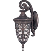 Satco Incandescent 1-Light Dark Plum Bronze Wall Lantern with Clear Seeded Glass Shade (STL-SAT620560)