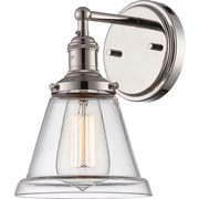 Satco Incandescent 1-Light Polished Nickel Wall Sconce with Clear Glass Shade (STL-SAT654121)