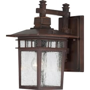 Satco Incandescent 1-Light Rustic Bronze Wall Lantern with Clear Seeded Glass Shade (STL-SAT649585)