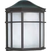 Satco Incandescent 1-Light Textured Black Wall Lantern with White Acrylic Glass Shade (STL-SAT605390)
