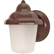 Satco Incandescent 1-Light Old Bronze Wall Lantern with Satin Frosted Glass Shade (STL-SAT606403)