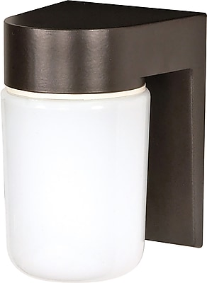 Satco Incandescent 1-Light Bronzotic Wall Lantern with White Glass Shade (STL-SAT771385)