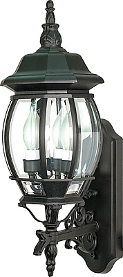 Satco Incandescent 3-Light Textured Black Wall Lantern with Clear Beveled Panels Glass Shades (STL-SAT608902)