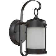 Satco CFL 1-Light Textured Black Wall Lantern with Clear Seed Glass Shade (STL-SAT639463)