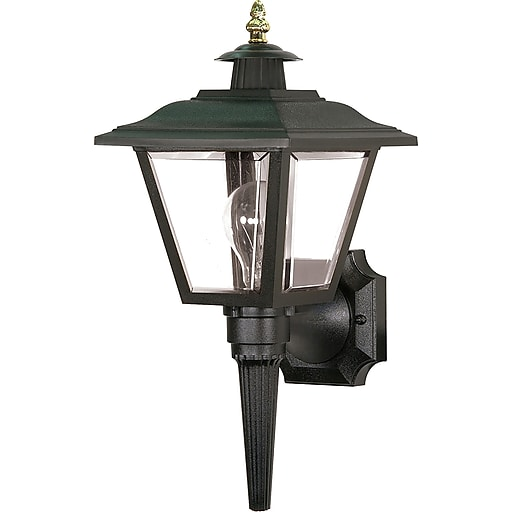 Https www staples 3p com s7 is x images for satco incandescent 1 light black wall lantern with clear panels aluminum shade
