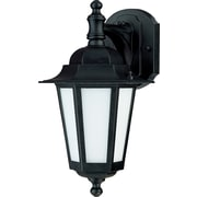 Satco CFL 1-Light Textured Black Wall Lantern with Satin White Glass Shade (STL-SAT622069)