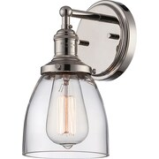 Satco Incandescent 1-Light Polished Nickel Wall Sconce with Clear Glass Shade (STL-SAT654145)