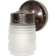 Satco Incandescent 1-Light Old Bronze Wall Lantern with Frosted Mason Jar Glass Shade (STL-SAT767005)