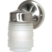 Satco Incandescent 1-Light Brushed Nickel Wall Lantern with Frosted Mason Jar Glass Shade (STL-SAT767012)