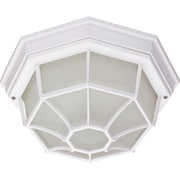 Satco Incandescent 1-Light White Wall Lantern with Frosted Glass Shade (STL-SAT605345)