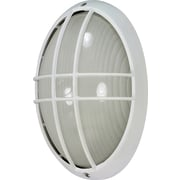 Satco Incandescent 1-Light Semi-Gloss White Wall Lantern with Frosted Diffuser Glass Shade (STL-SAT605284)