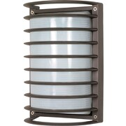 Satco Incandescent 1-Light Architectural Bronze Wall Lantern with Frosted Diffuser Glass Shade (STL-SAT605338)