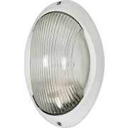 Satco Incandescent 1-Light Semi-Gloss White Wall Lantern with Clear Diffuser Glass Shade (STL-SAT605260)