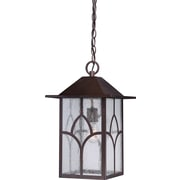 Satco Incandescent 1-Light Claret Bronze Hanging Lantern with Clear Seed Glass Shade (STL-SAT656446)