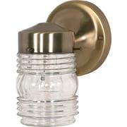 Satco Incandescent 1-Light Antique Brass Wall Lantern with Clear Mason Jar Glass Shade (STL-SAT779954)