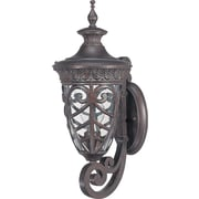 Satco Incandescent 1-Light Dark Plum Bronze Wall Lantern with Clear Seeded Glass Shade (STL-SAT620553)