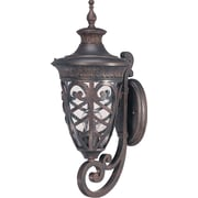 Satco Incandescent 1-Light Dark Plum Bronze Wall Lantern with Clear Seeded Glass Shade (STL-SAT620539)