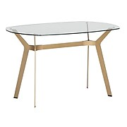 "Studio Designs Home 48"" Archtech Modern Glass Desk Dining Table Gold (71013)"