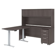 "Bush Business Furniture Studio C 72""W L Shaped Desk with Hutch, Height Adjustable Return and Storage Installed, Storm Gray"