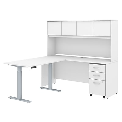 Bush Business Furniture Studio C 72W x 24D L Shaped Desk with Hutch, 48W Height Adjustable Return and Storage - Installed, White