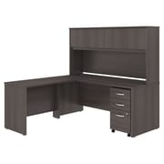 "Bush Business Furniture Studio C 72""W L-Shaped Desk w/ Hutch Mobile File Cabinet and Return Installed, Storm Gray (STC006SGFA)"
