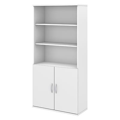 Bush Business Furniture Studio C 5 Shelf Bookcase with Doors Installed, White (STC015WHFA)