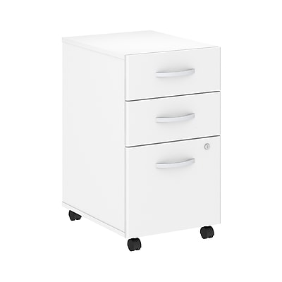 Bush Business Furniture Studio C 3 Drawer Mobile File Cabinet Installed, White (SCF216WHSUFA)