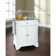 Crosley LaFayette Solid Granite Top Portable Kitchen Island in White Finish (KF30023BWH)