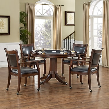 Crosley Reynolds 5 Piece Game Table Set In Rustic Mahogany (KF14002-RM)
