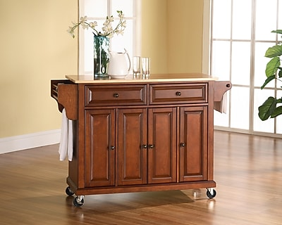 Crosley Natural Wood Top Kitchen Cart/Island in Classic Cherry Finish (KF30001ECH)
