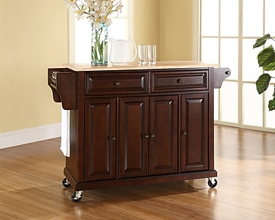 Crosley Natural Wood Top Kitchen Cart/Island in Vintage Mahogany Finish (KF30001EMA)