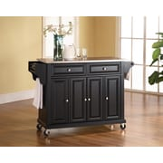 Crosley Stainless Steel Top Kitchen Cart/Island in Black Finish (KF30002EBK)