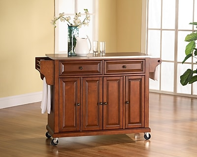 Crosley Stainless Steel Top Kitchen Cart/Island in Classic Cherry Finish (KF30002ECH)