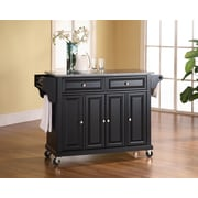 Crosley Solid Granite Top Kitchen Cart/Island in Black Finish (KF30003EBK)