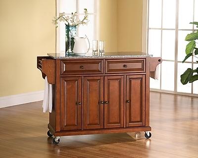 Crosley Solid Granite Top Kitchen Cart/Island in Classic Cherry Finish (KF30003ECH)