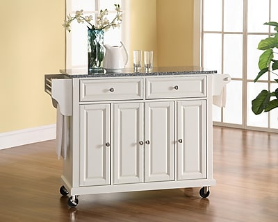 Crosley Solid Granite Top Kitchen Cart/Island in White Finish (KF30003EWH)