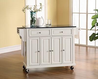 Crosley Solid Black Granite Top Kitchen Cart/Island in White Finish (KF30004EWH)