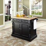 Crosley Oxford Butcher Block Top Kitchen Island in Black Finish (KF30006BK)