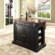 Crosley Coventry Drop Leaf Breakfast Bar Top Kitchen Island in Black Finish (KF30007BK)