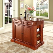 Crosley Coventry Drop Leaf Breakfast Bar Top Kitchen Island in Classic Cherry Finish (KF30007CH)