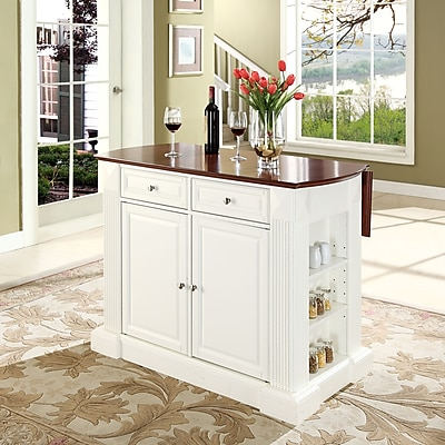 Crosley Coventry Drop Leaf Breakfast Bar Top Kitchen Island in White Finish (KF30007WH)