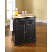 Crosley Alexandria Natural Wood Top Portable Kitchen Island in Black Finish (KF30021ABK)