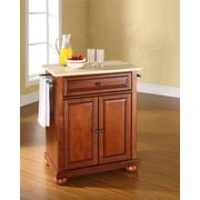 Crosley Alexandria Natural Wood Top Portable Kitchen Island in Classic Cherry Finish (KF30021ACH)