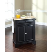 Crosley LaFayette Natural Wood Top Portable Kitchen Island in Black Finish (KF30021BBK)
