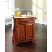 Crosley LaFayette Natural Wood Top Portable Kitchen Island in Classic Cherry Finish (KF30021BCH)