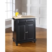 Crosley Cambridge Natural Wood Top Portable Kitchen Island in Black Finish (KF30021DBK)
